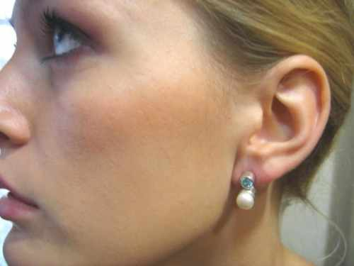 White pearl blue topaz Earring