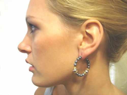 Black Pearl Hoop Earring