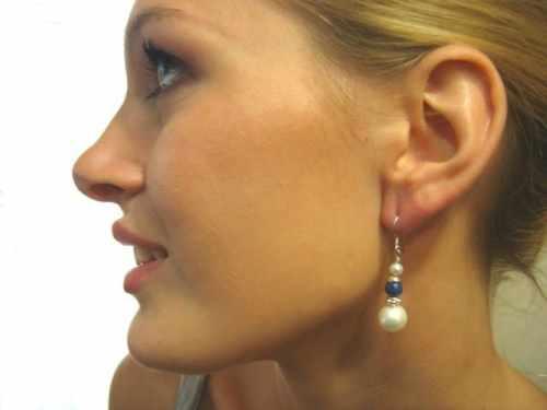 White Pearl Drop Earring Lapis