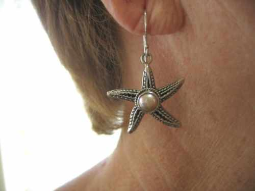 Star Fish Pink Pearl Earrings