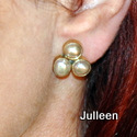 Triple Pink Pearl Earring Clip on Gold