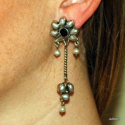 Oprah Pearl Earring Garnets