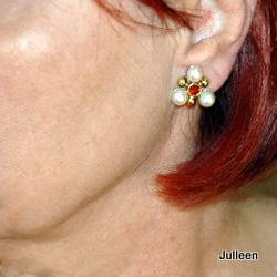 garnet pearl clip on earring