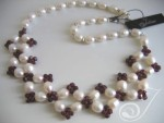 Cranberry Lace Pearl Necklace VO027-06