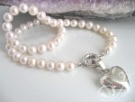 French Heart Pearl Necklace PSH011