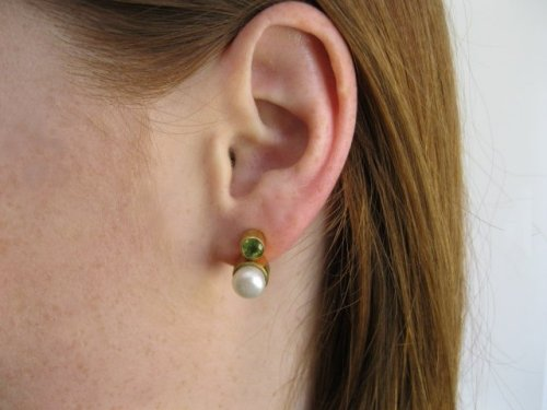 Pearl and Peridot Stud Earring Gold