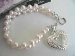 Bridal Heart Pearl Bracelet