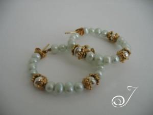 Mint Pearl Hoop Earring