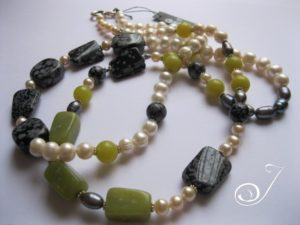 White Long Pearl Necklace with Lime and Grey Pearl and Stones